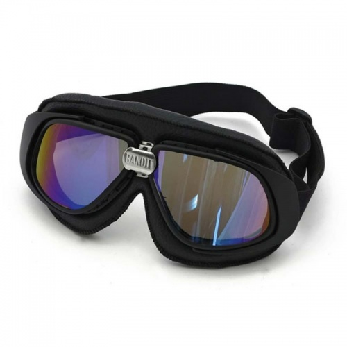 Bandit Classic Motorcycle Googles - Black with Mirror Iridium Lens
