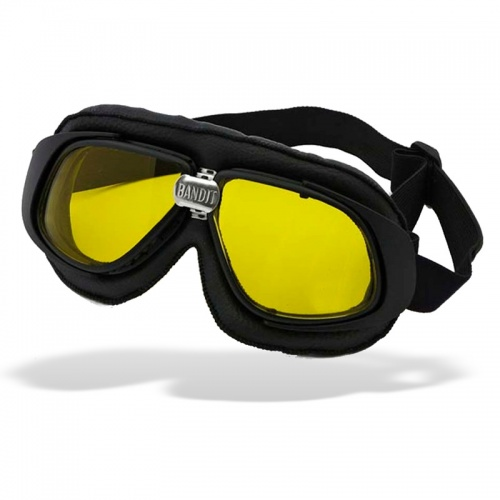 Bandit Classic Motorcycle Googles - Black with Yellow Lens