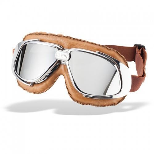 Bandit Classic Motorcycle Googles - Brown with Mirror Chrome Lens