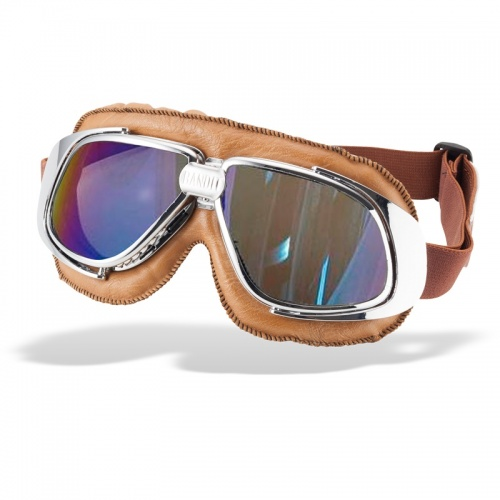 Bandit Classic Motorcycle Googles - Brown with Mirror Iridium Lens