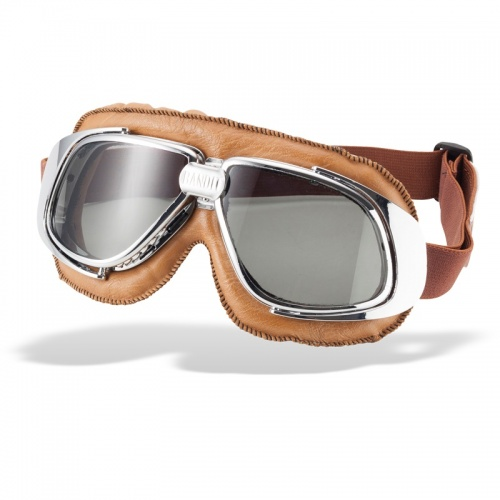 Bandit Classic Motorcycle Googles - Brown with Smoke Lens