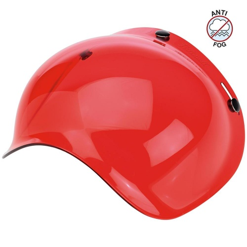 Biltwell Open Face Motorcycle Helmet Bubble Shield Visor Anti-Fog - Red