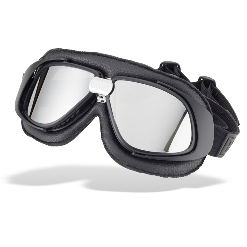 Bandit Classic Motorcycle Googles - Black with Mirror Chrome Lens