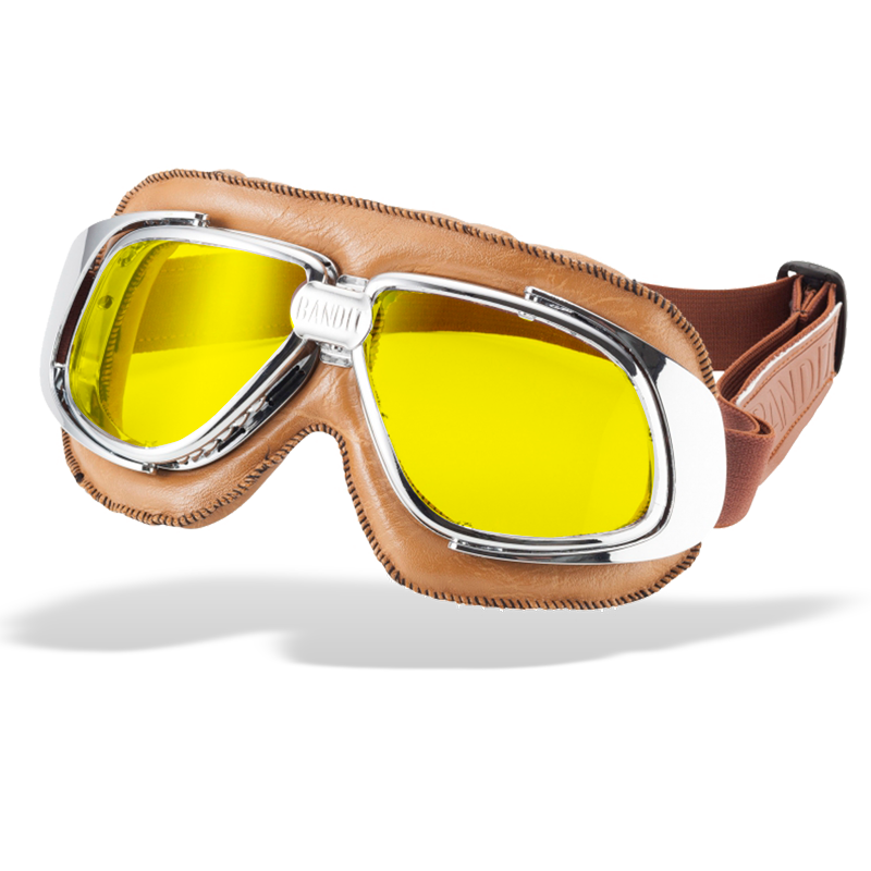 Bandit Classic Motorcycle Googles - Brown with Yellow Lens