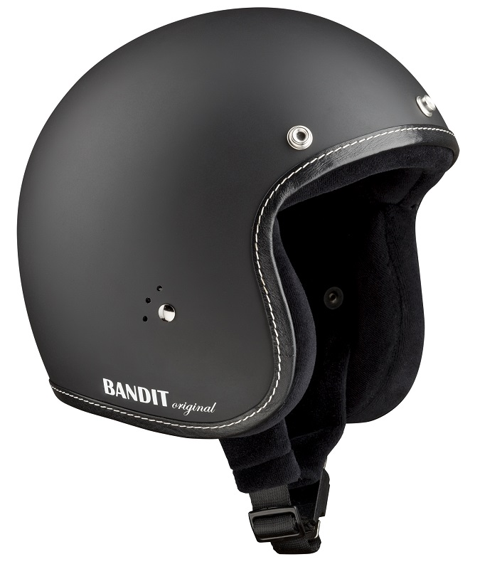 Bandit Jet Premium Matt Black Open Face Motorcycle Helmet